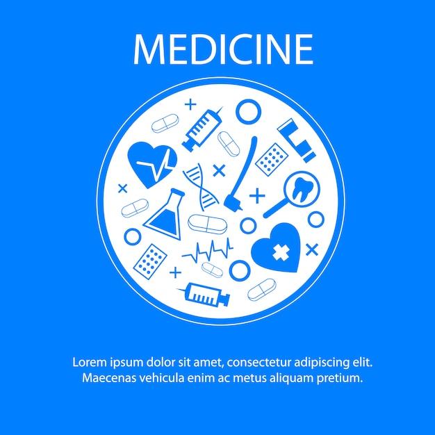 Medizin-fahnenschablone mit symbol der medizinischen wissenschaft Kostenlosen Vektoren