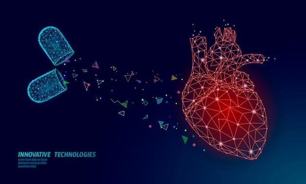 Medizin herzmedizin behandlung. human health diagnostics pillenvitamine des gefäßorgansystems. kardiologie herzschutzkonzept. low poly Premium Vektoren