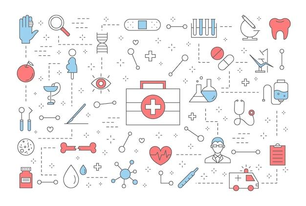 Medizin-konzept. idee der behandlung und gesundheitsversorgung. diät, sport, entspannung und kontrolle. satz von medizinischen symbolen. illustration Premium Vektoren