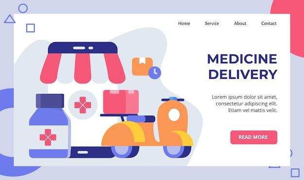 Medizin lieferung roller motorrad tragen apotheke box kampagne für web-homepage homepage landing page Premium Vektoren