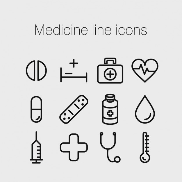 Medizin linie ikonen Kostenlosen Vektoren