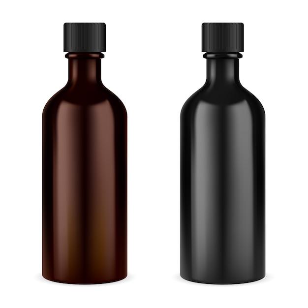 Medizin sirup flasche. braunes glas mit schraubverschluss. fläschchen mit ätherischen ölen. verschreibungspflichtige suspension oder husten tinkturbehälter leer in schwarzer oder brauner farbe Premium Vektoren