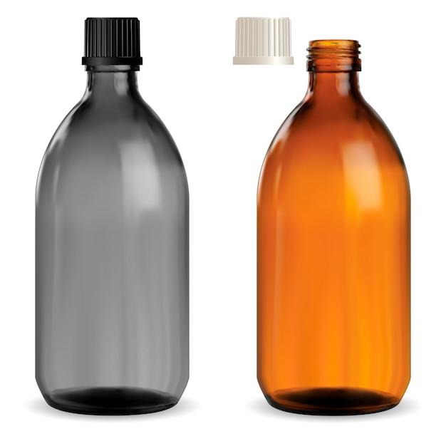 Medizin sirup flasche. pharmazeutisches braunes glas Premium Vektoren