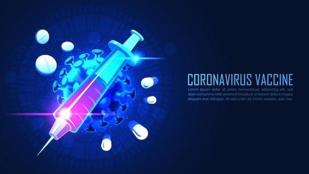 Medizin spritze mit impfstoffserum gegen coronavirus im grafischen konzept Premium Vektoren