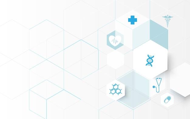 Medizin und wissenschaft symbole Premium Vektoren