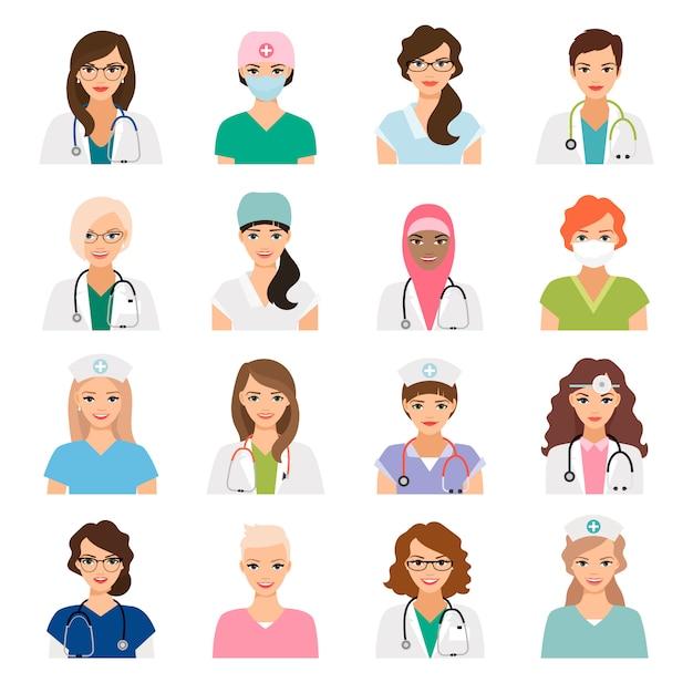 Medizinavataras stellten mit den lokalisierten ärztin- und krankenschwestervektorikonen ein Premium Vektoren