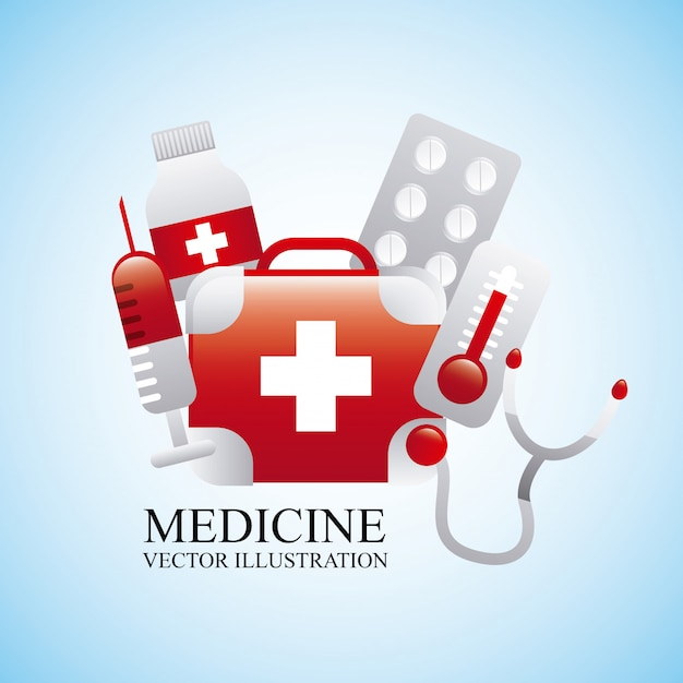 Medizindesign über blauer hintergrundvektorillustration Premium Vektoren