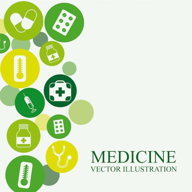 Medizindesign über weißer hintergrundvektorillustration Premium Vektoren