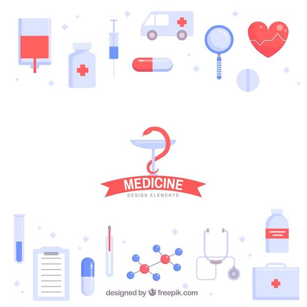 Medizinelementhintergrund in der flachen art Kostenlosen Vektoren
