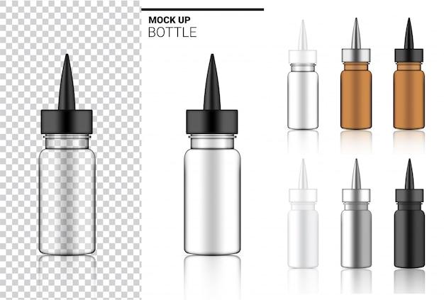 Medizinflasche mock up realistische transparente verpackung Premium Vektoren