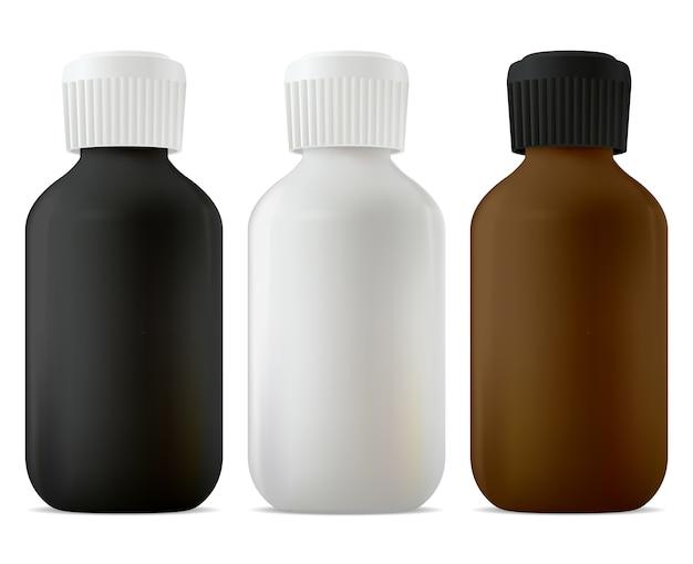 Medizinflasche, schraubdeckel. medizinisches sirupglas schwarz, weiß und braun leer. medikamentensuspension, hustenkur. apothekentinktur oder behälter mit ätherischen ölen Premium Vektoren