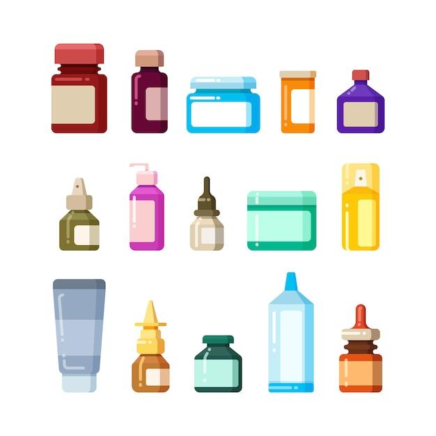 Medizinflaschen für flache ikonen der drogen, der pillen und der vitamine Premium Vektoren