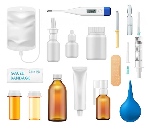 Medizinflaschen, spray, glasfläschchen, thermometer Premium Vektoren