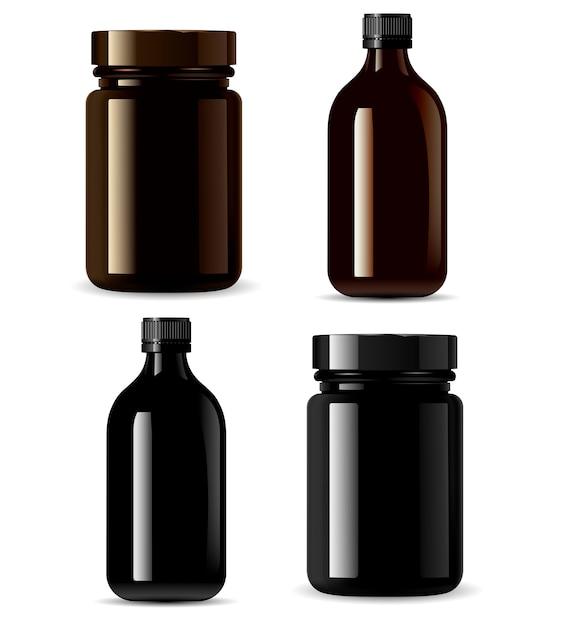 Medizinflaschenmodell, schwarze kosmetikverpackung Premium Vektoren