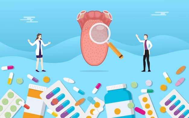 Medizingesundheit der menschlichen zunge mit pillendrogen-kapselbehandlung Premium Vektoren