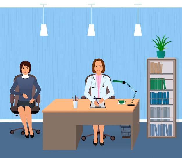 Medizininnenraum mit sitzendem patienten und doktor. arztpraxis der jungen frau besuchend. Premium Vektoren