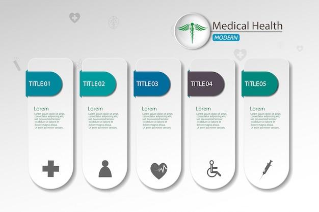 Medizinisch auf infographic papierhintergrund Premium Vektoren