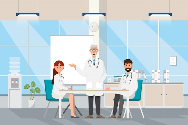 Medizinisch mit doktor und patienten in der flachen karikatur an der krankenhaushalle Premium Vektoren