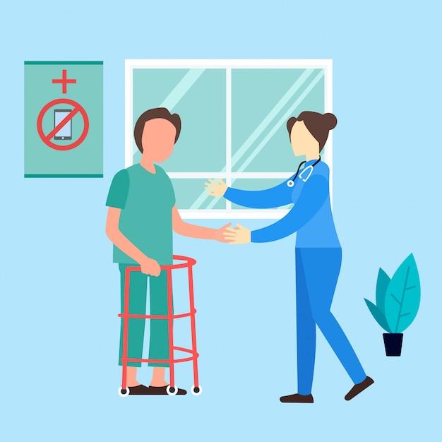Medizinische ärztinkrankenschwester-hilfspatientenillustration Premium Vektoren