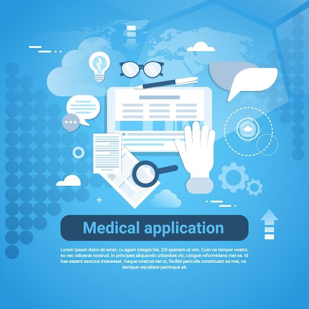 Medizinische anwendungsvorlage web banner mit textfreiraum Premium Vektoren