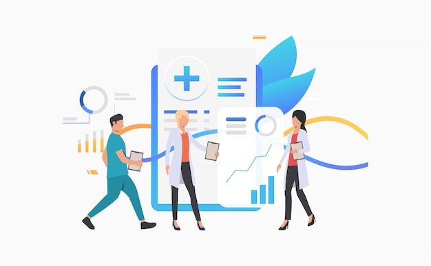 Medizinische arbeitskräfte, die elektronische aufzeichnung analysieren Kostenlosen Vektoren