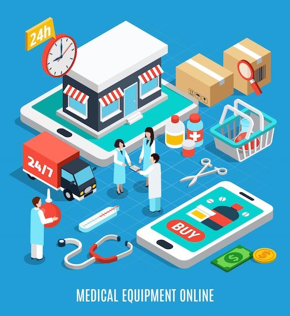 Medizinische ausrüstung isometrisch Kostenlosen Vektoren