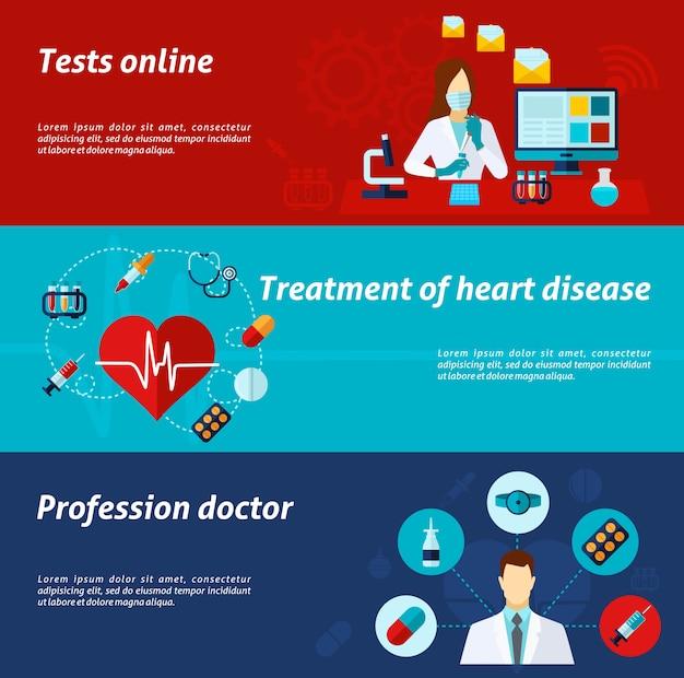 Medizinische banner-set Kostenlosen Vektoren