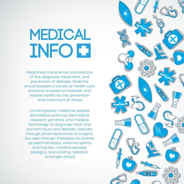 Medizinische behandlungsschablone mit text- und blauen papiersymbolen auf licht Kostenlosen Vektoren