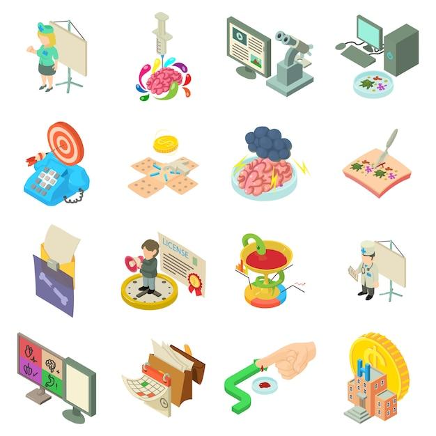 Medizinische bürokratie-icon-set Premium Vektoren