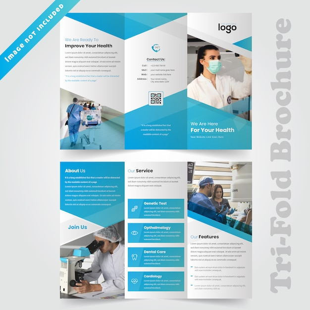 Medizinische dreifachgefaltete broschürengestaltung für ein krankenhaus Premium Vektoren