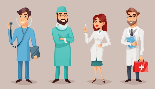 Medizinische fachleute-leute-retro- karikatur-plakat Kostenlosen Vektoren