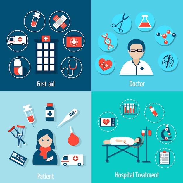 Medizinische flache elemente zusammensetzung und avatar set Kostenlosen Vektoren
