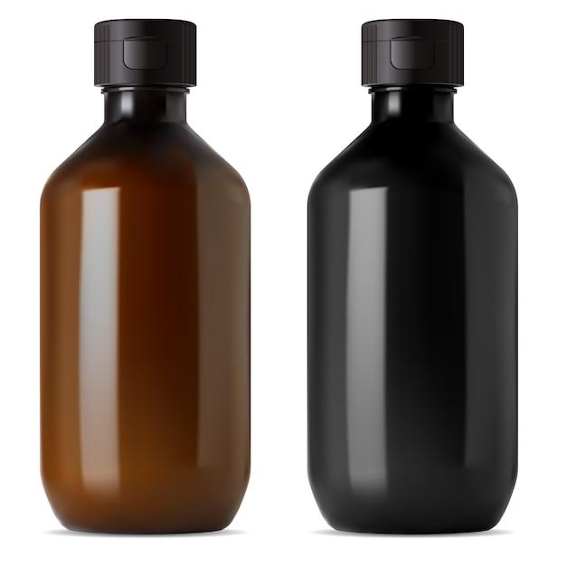 Medizinische flasche aus braunem und schwarzem glas. e fläschchen mit flüssigem oder ätherischem öl. flasche für medizinischen sirup, bio-apotheke. kosmetische aromaessenz glänzende flakonillustration, realistische serumbehandlung Premium Vektoren