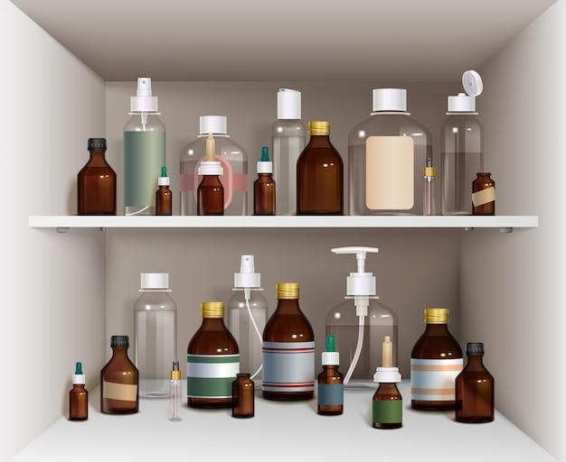 Medizinische flaschen-element-sammlung. medizinische flaschen Kostenlosen Vektoren