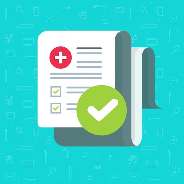 Medizinische formularcheckliste mit ergebnisdaten und anerkannter flacher karikatur der häkchenikone Premium Vektoren