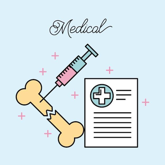 Medizinische gebrochene Knochen- und Spritzenberichtaufzeichnung ...