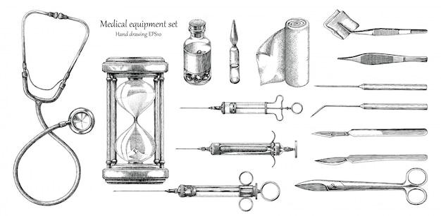 Medizinische geräte setzen handzeichnung vintage-stil Premium Vektoren