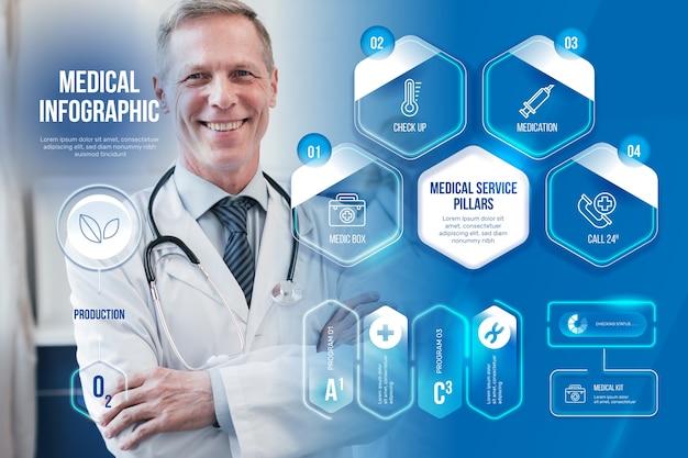 Medizinische geschäftsinfografik mit foto Kostenlosen Vektoren