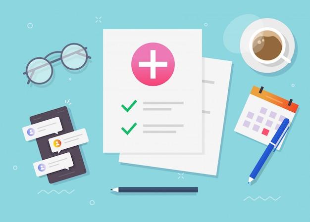 Medizinische gesundheitsforschung patientenpapier bericht oder versicherung checkliste dokument legen illustration Premium Vektoren