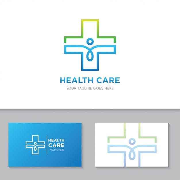 Medizinische gesundheitsversorgung logo und symbol abbildung Premium Vektoren