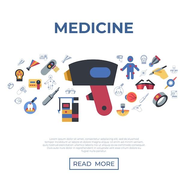 Medizinische gesundheitswesen laser-icons Premium Vektoren