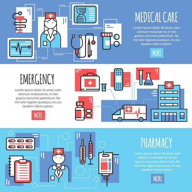Medizinische horizontale banner Kostenlosen Vektoren