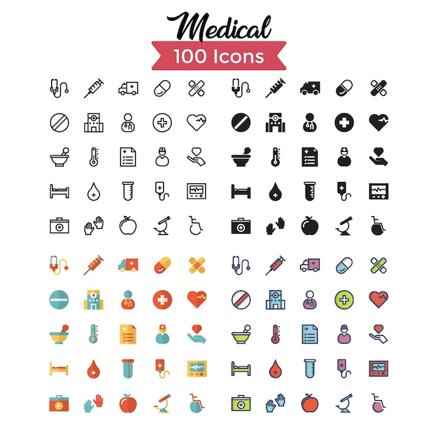 Medizinische icon set. Premium Vektoren