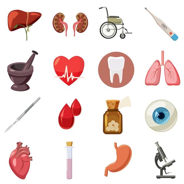 Medizinische ikonen eingestellt, karikaturart Premium Vektoren