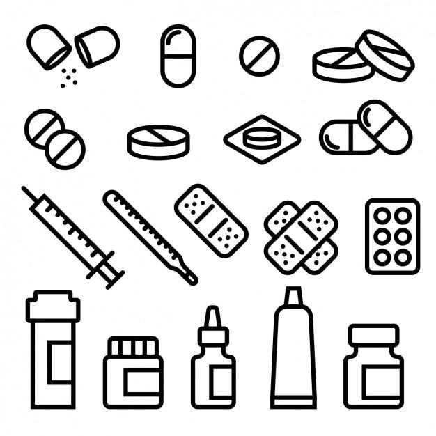 Medizinische ikonen-sammlung Kostenlosen Vektoren