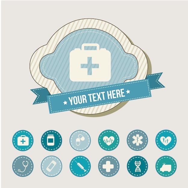 Medizinische ikonen über beige hintergrundvektorillustration Premium Vektoren