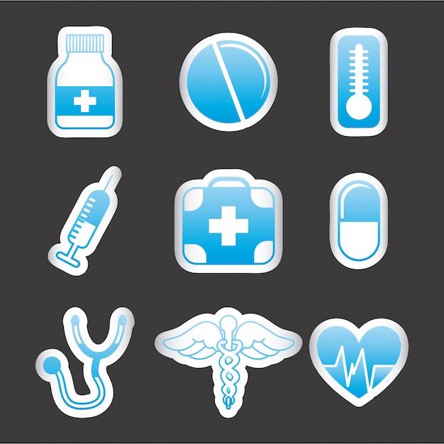 Medizinische ikonen über schwarzer hintergrundvektorillustration Premium Vektoren