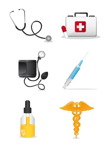 Medizinische ikonen über weißer hintergrundvektorillustration Premium Vektoren