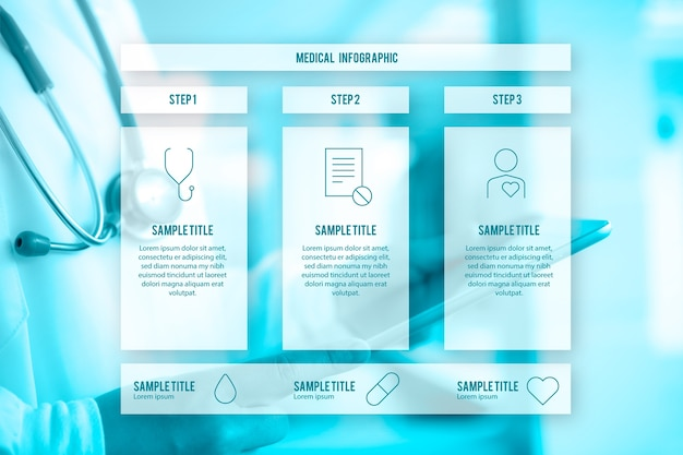 Medizinische infografik mit schritten einer behandlung Kostenlosen Vektoren