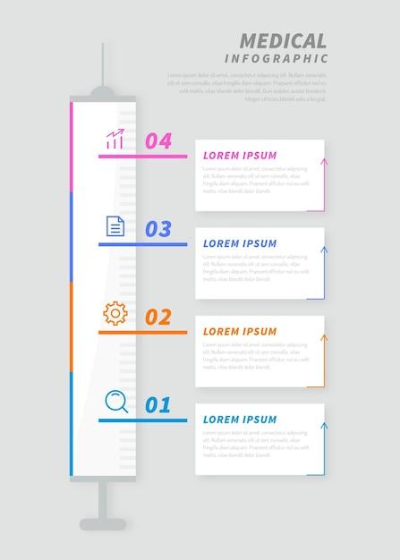 Medizinische infografiken in flachem design Kostenlosen Vektoren
